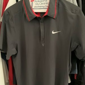 NIKE ROGER FEDERER POLO SHIRT BROWN/RED SZ LARGE